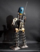 "Bandito:  tig welded found metal figure, 34"" tall, 2011"