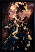"StarFist: Recoil - Randomhouse / Del Rey - oil on paper on panel 23"" x 35""...Nielsen Style 97 matte black finish museum frame. $3,200 - Lost"