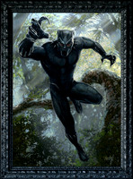 "T'Challa - The Black Panther - For Marvel Studios - Oil on Canvas on Panel - Image Area 30.5"" x 43"", Heavy Black Larson Jhul Hardwood Frame 36.75"" x 49.75"" - $8800"