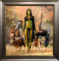 "The Goddess Animalia - Oil on Canvas on Panel - 36 1/4"" x 34 3/4"" Image Area in Monolithic Dark Silver Wood Frame.  $6,200"