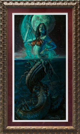 "Court of the Dead - Gallevarbe: Beyond the Veils - by Sideshow Collectibles - Art Print - 18"" x 33"" one of 10 artist proofs, gold leaf FRAME and matted w ACTUAL signature - $670"