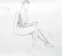 "Seated Nude:  pencil on paper, 18"" x 21"", 2012"