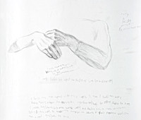 "Clasped Hands:  pencil on paper, 18"" x21"", 2012"