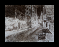 "Study of Chinatown at Night: charcoal on paper, 18"" x 26"", 2012"