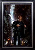 "How Dark The World Becomes - Baen Books - oil on print on canvas on board, 41"" x 26.5"" image area - framed in Black Enameled Hardwood and Metal - $6,700"