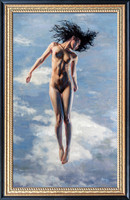 "Transcendent Lynne - 26.5"" x 44"" Image Area - 32"" x 49.5"" framed - oil on canvas on board - framed in black and gold leafed Larson Juhl hardwood - $5800"