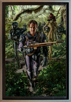 "Empire of Man - Oil on Archival Digital Print on Panel - 26 1/2"" x 40"" image in 30 7/8"" x 44 1/2"" frame, - Nielsen Style 97 pewter finish museum frame.  $6,000"