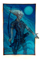 Chuck Lukacs:  Eladrin Elf Ranger - 2010. 14 x 9 inches, Oil on board, un-matted, sides taped in white