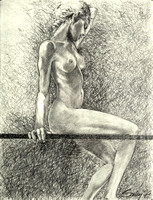 Pencil Girl on a Line