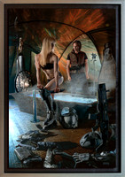 "Throne of Stars - Baen Books - Oil on Print on Panel - 26 1/2"" x 39 1/2"" image in 30 3/4"" x 43 3/4"" frame, - Nielsen Style 97 pewter finish museum frame.  $3,400"