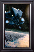 "The Eternity Artifact - Tor Books - oil on print on panel 19"" x 31"" - Framed in Black Enameled Hardwood and Metal - $2,900"