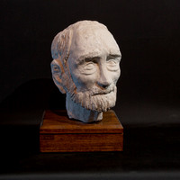 "Uncle David:  cast plaster head from clay original, 10"" tall, 2010"