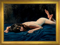 "Blue Dawn - 29"" x 40"" Image Area - 37"" x 48"" framed - oil on canvas on board - framed in antique gold leafed hardwood - $7200"