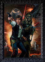 "Star Wars Crykon Escape (cancelled) - Han and Chewbacca - 33.5"" x 46"" Image Area - 37"" x 50"" framed - oil on canvas on board - framed in black figured hardwood - $14,000"
