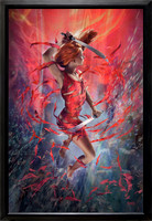"Queen Of Wands - Baen Books - Exposé - oil on print on canvas 27"" x 42""...black enamel wood frame... $5,500 - SOLD"